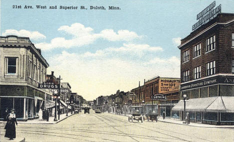 21st Avenue West and Superior Street, Duluth Minnesota, 1910's