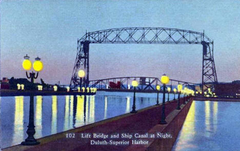 Aerial Lift Bridge and Ship Canal at Night, Duluth Minnesota, 1940's?