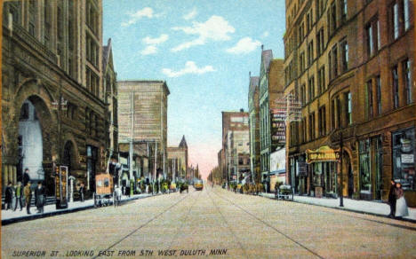 Superior Street looking east from 5th West, Duluth Minnesota, 1910's?