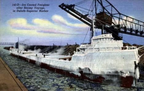 Ice Coated Freighter entering Duluth Harbor, 1940's