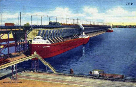 Loading Freighters At Ore Docks, Duluth Minnesota, 1949