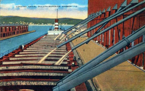Loading Grain, Duluth-Superior Harbor, 1940's