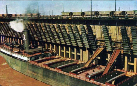 Great Lakes Ore Carrier Richard J Reiss Loading Ore, Duluth Minnesota, 1950's