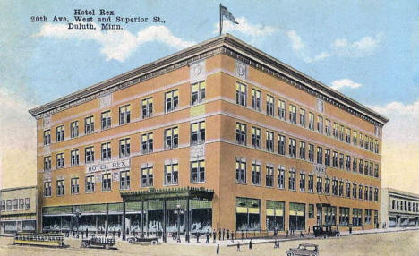 Hotel Rex, 20th Ave W and Superior Street, Duluth Minnesota, 1910