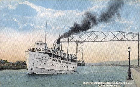 Steamer North America leaving Duluth Harbor, 1915
