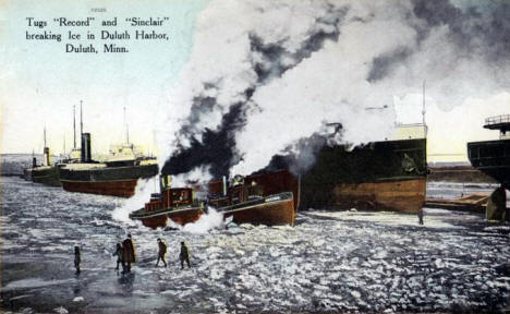 Tugs 'Record' and 'Sinclair' breaking ice in Duluth Harbor, 1909