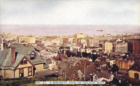 Birds eye view of Duluth Minnesota, 1910's