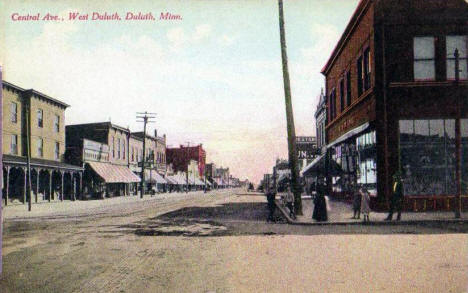 Central Avenue, West Duluth Minnesota, 1910's