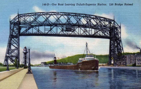 Aerial Bridge and Ore Boat leaving Duluth Superior Harbor, 1950