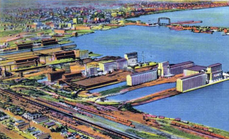 Aerial view of Duluth and Harbor, 1937