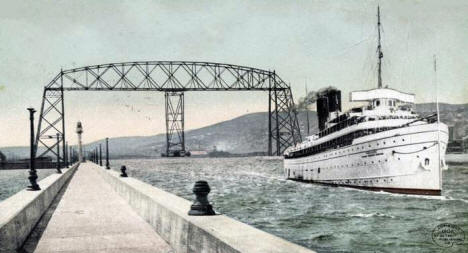Ship Canal and Aerial Bridge, Duluth Minnesota, 1908