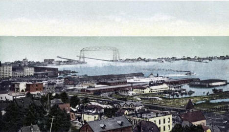 View (Harbor, Pier, Bridge), Duluth Minnesota, 1907