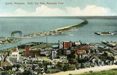 Birds eye view Minnesota Point, Duluth Minnesota, 1920's?