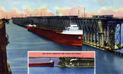 Ore Boats entering Ore Docks in Duluth Minnesota, 1937