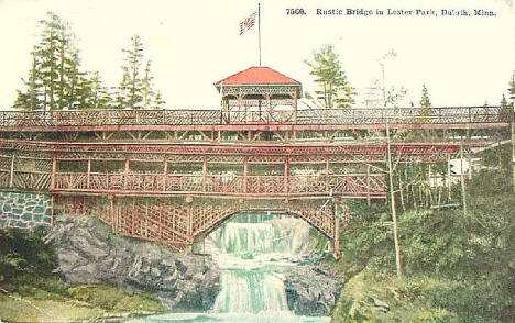 Rustic Wood Bridge in Lester Park, Duluth Minnesota, 1911