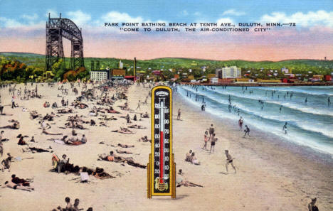Park Point Bathing Beach at Tenth Avenue, Duluth Minnesota, 1946