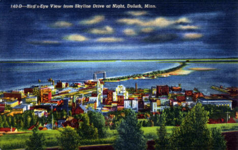 Birds-Eye View from Skyline Drive at Night, Duluth Minnesota, 1941