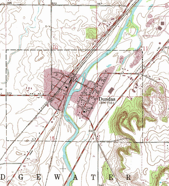 Topographic map of the Dundas Minnesota area