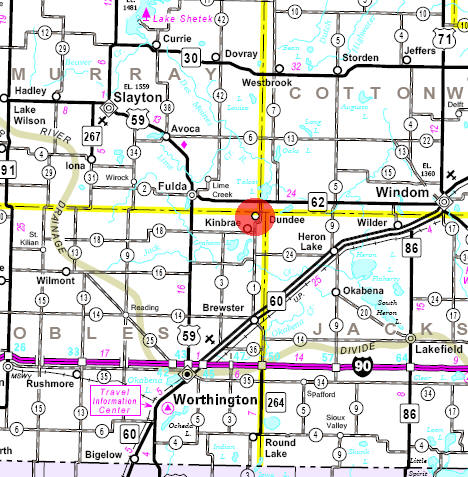 Minnesota State Highway Map of the Dundee Minnesota area