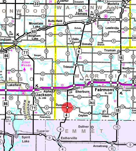 Minnesota State Highway Map of the Dunnell Minnesota area