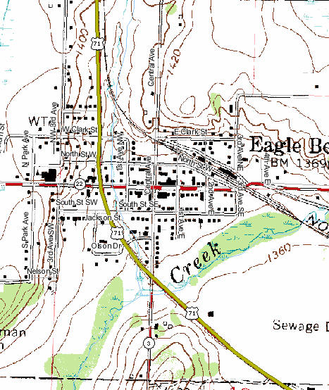 Topographic Map of Eagle Bend Minnesota