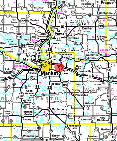 Minnesota State Highway Map of the Eagle Lake Minnesota area
