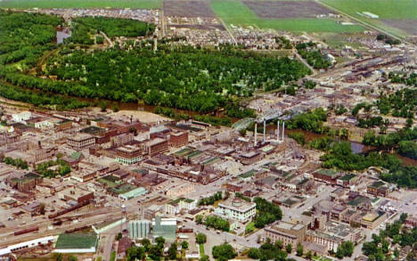 Aerial view, Grand Forks, ND and East Grand Forks Minnesota, 1961