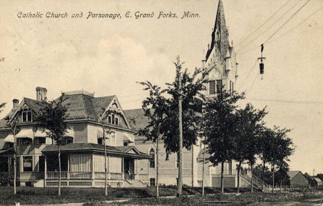 Catholic Church and Parsonage, East Grand Forks Minnesota, 1908