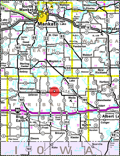 Minnesota State Highway Map of the Easton Minnesota area