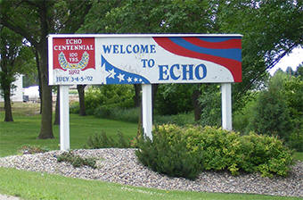 Echo Minnesota welcome sign