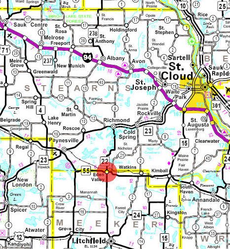 Minnesota State Highway Map of the Eden Valley Minnesota area
