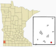 Location of Edgerton, Minnesota
