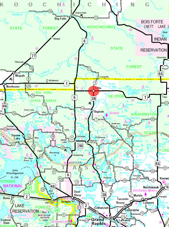 Minnesota State Highway Map of the Effie Minnesota area