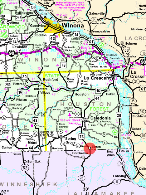 Minnesota State Highway Map of the Eitzen Minnesota area