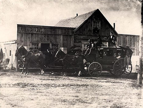 Stage Coach at Elbow Lake on stage line from Alexandria, 1878