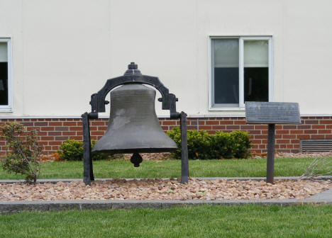 Old school bell at present day school, Elgin Minnesota, 2010