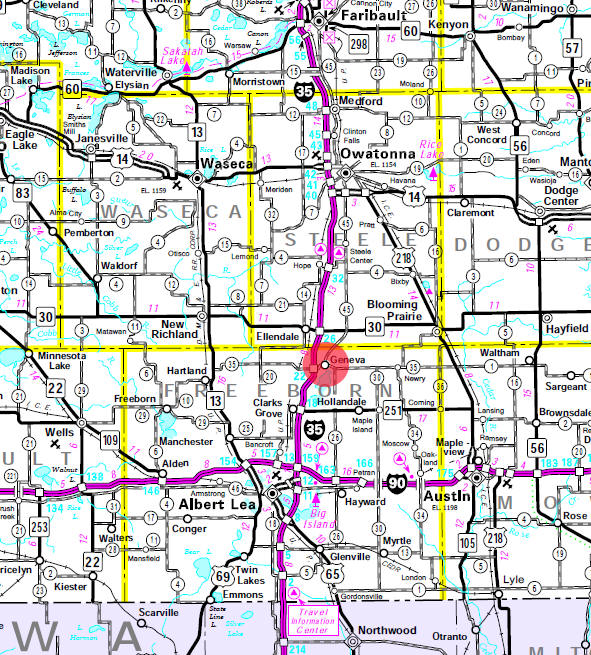 Minnesota State Highway Map of the Ellendale Minnesota area