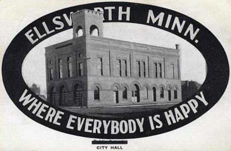 Postcard of City Hall, Ellsworth Minnesota, 1910