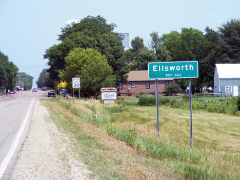 Population sign, Ellsworth Minnesota, 2012