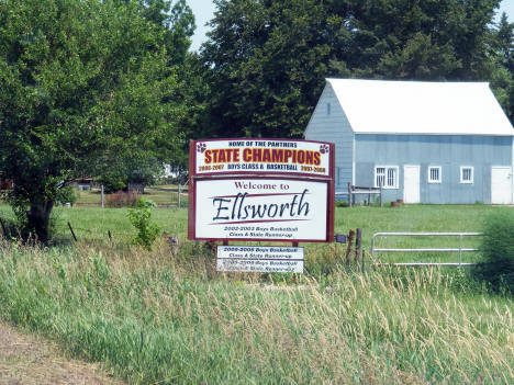 Welcome sign, Ellsworth Minnesota, 2012