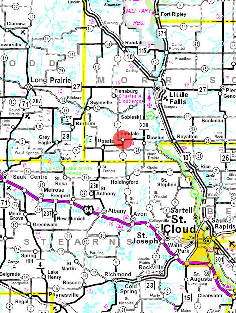 Minnesota State Highway Map of the Elmore Minnesota area