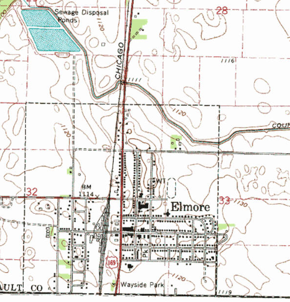 Topographic map of the Elmore Minnesota area