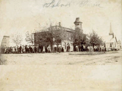 Elmore School and Methodist Church, Elmore Minnesota, 1900