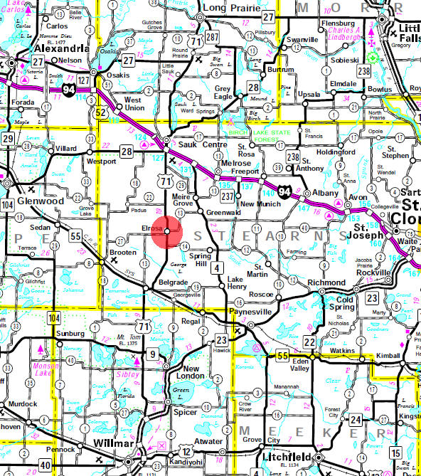 Minnesota State Highway Map of the Elrosa Minnesota area