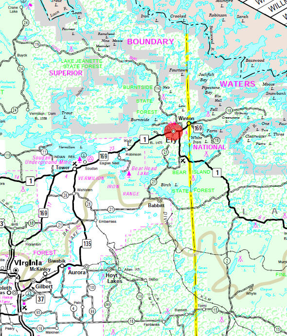 Minnesota State Highway Map of the Ely Minnesota area