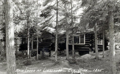 Main Lodge at Lindskoe's Resort, Ely Minnesota, 1940's