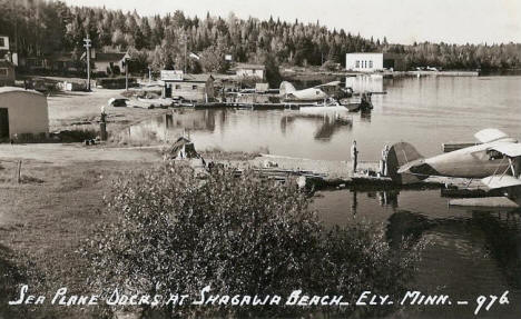 Sea plane docks at Shagawa Beach, Ely Minnesota, 1948