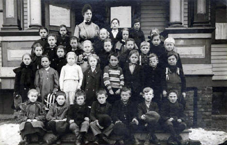 School children and teacher, third grade, Central School; Ely Minnesota 1906