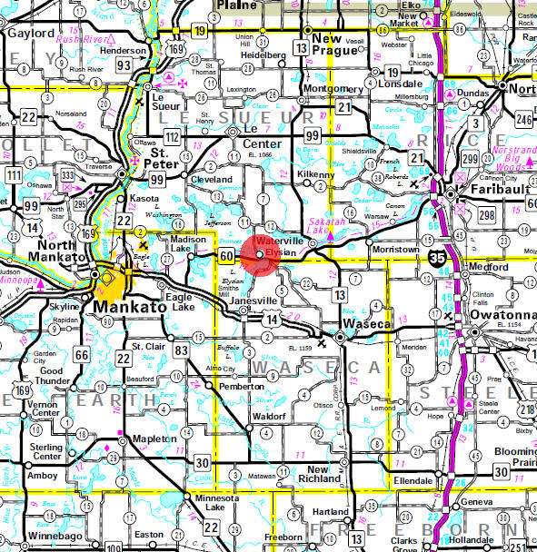 Minnesota State Highway Map of the Elysian Minnesota area