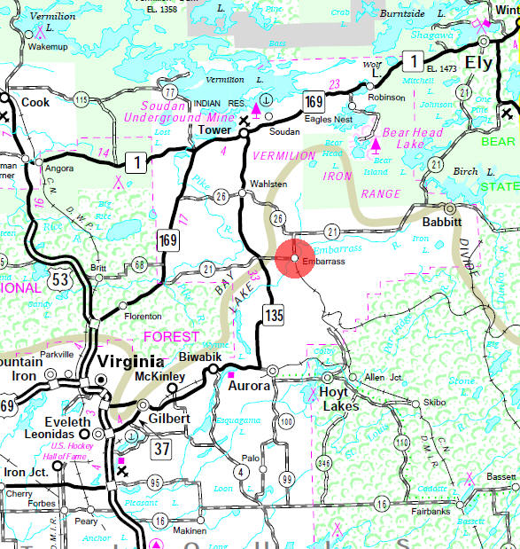Minnesota State Highway Map of the Embarrass Minnesota area